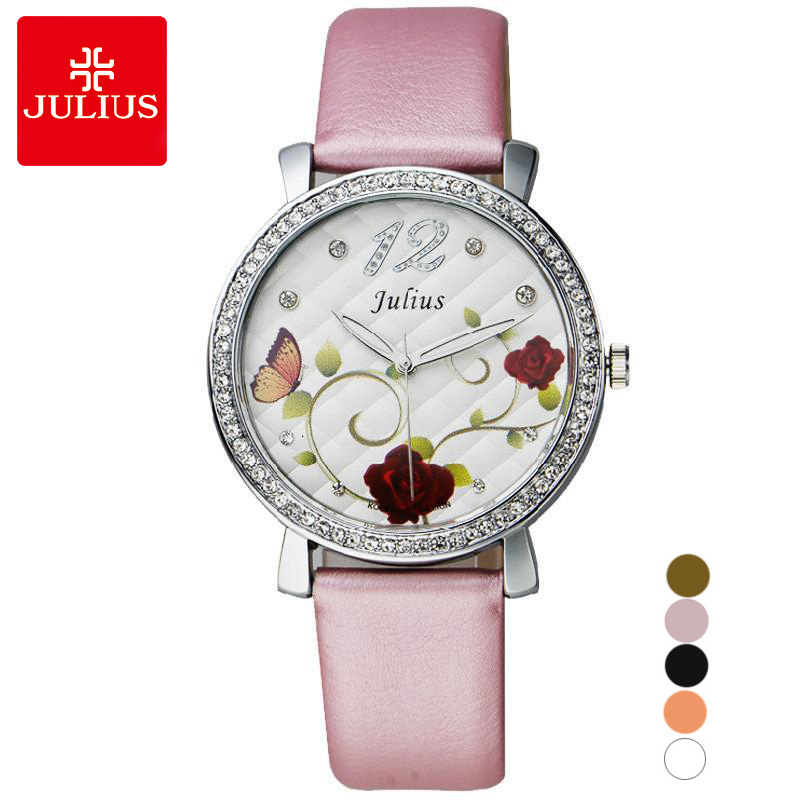 Rose Flower Japan Quartz Lady Women's Watch Elegant Lattice Fashion Hour Bracelet Leather Clock Girl's Birthday Gift Julius Box