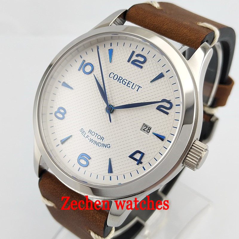 42mm corgeut white dial blue mark Sapphire Glass miyota Automatic mens watch bue hand sterile watches 42mm parnis withe dial sapphire glass miyota 9100 automatic mens watch 666b