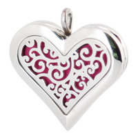 Amya 36mm Heart Tree of Life Aromatherapy Essential Oils Stainless Steel Perfume Diffuser Locket Necklace with chain Pads