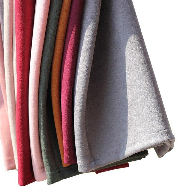 Sainishi Super Deals Women Suede Solid Color Pencil Skirt Female Spring Autumn Basic High Waist Bodycon Split Knee Length Skirts 3