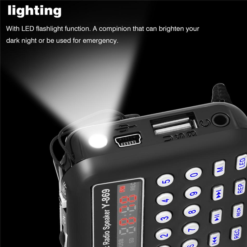 Y 869 Portable FM Radio with Antenna Digital Audio Music Player Mini  Speaker LED Flashlight Support TF Card USB Disk 100% New-in Radio from  Consumer ...