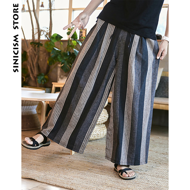 Sinicism Store Man Cotton Linen Wild Leg Pant Men Casual Stripe Straight Flare Trousers 2020 Male Traditional Pants Trousers 26