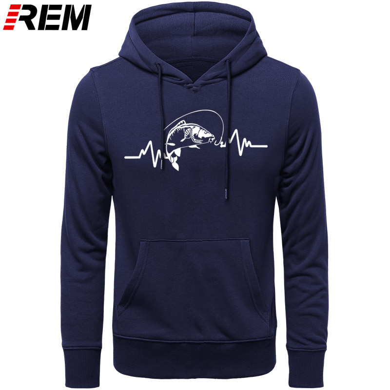 REM Hoodies Hot Clothing Cotton Men High Quality Heartbeat Carp Fisherman Angler Bait Hoodies, Sweatshirts