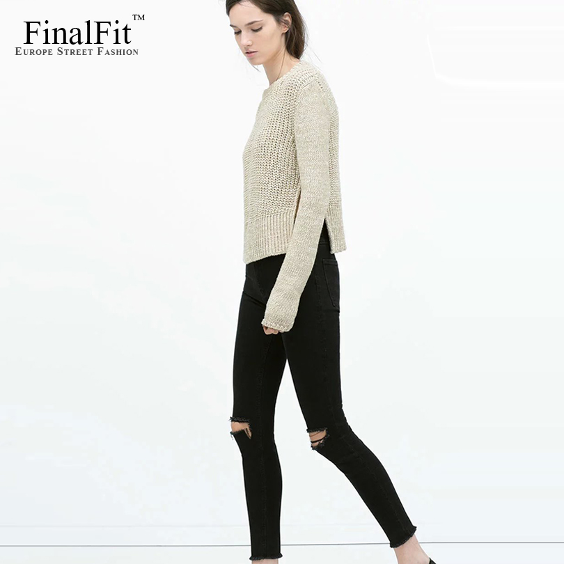 FinalFit Black High Waist Ripped Jeans s