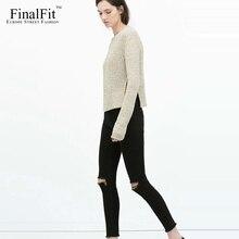 High Waist Skinny Jeans Women Black Distressed Frayed High Strech Ripped Women Pencil Jeans Pants Femme