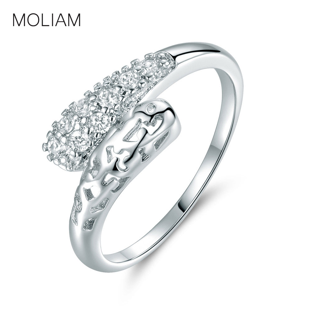 engagement wedding band rings silver color round cubic zirconia cz