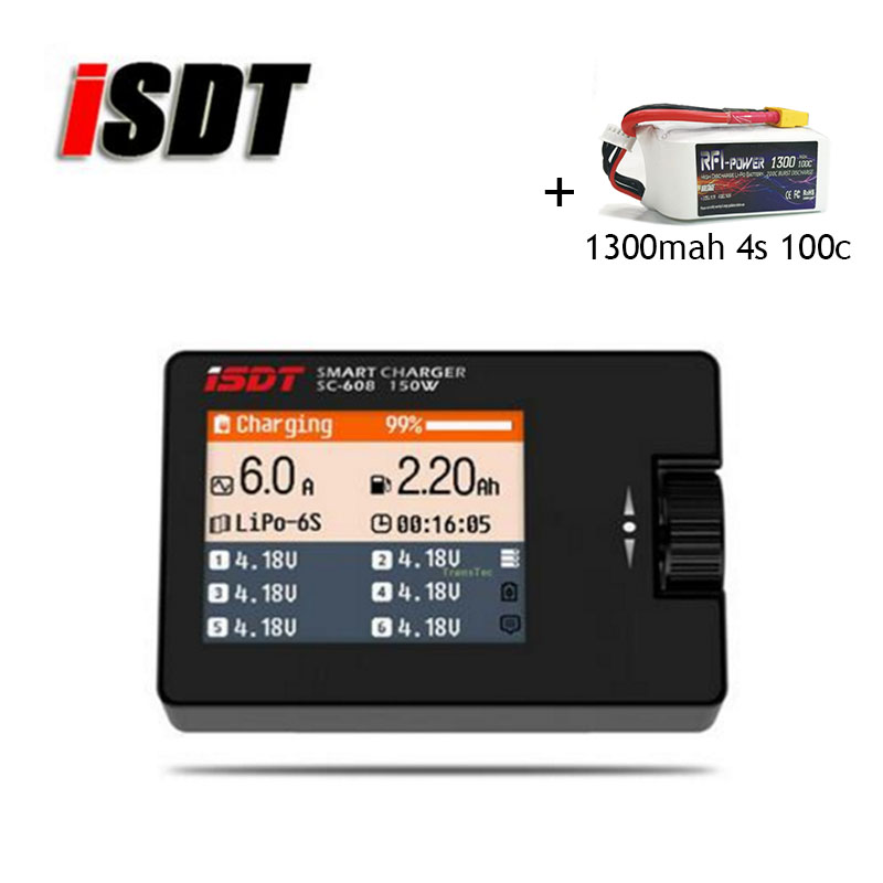 iSDT Charger SC-608 MINI Smart Balance Battery Charger 150W 8A 1-6S and RFI power 1300mAh 14.8V 100C(Max 200C) 4S Lipo Battery цепочка на ногу loulan inn jl1048
