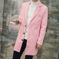 Nova Moda 2016 homens Trench Coat Cáqui Rosa Estilo Longo blusão Homens Roupas de Outono Inverno Da Marca Slim Fit Casacos Manteau homens