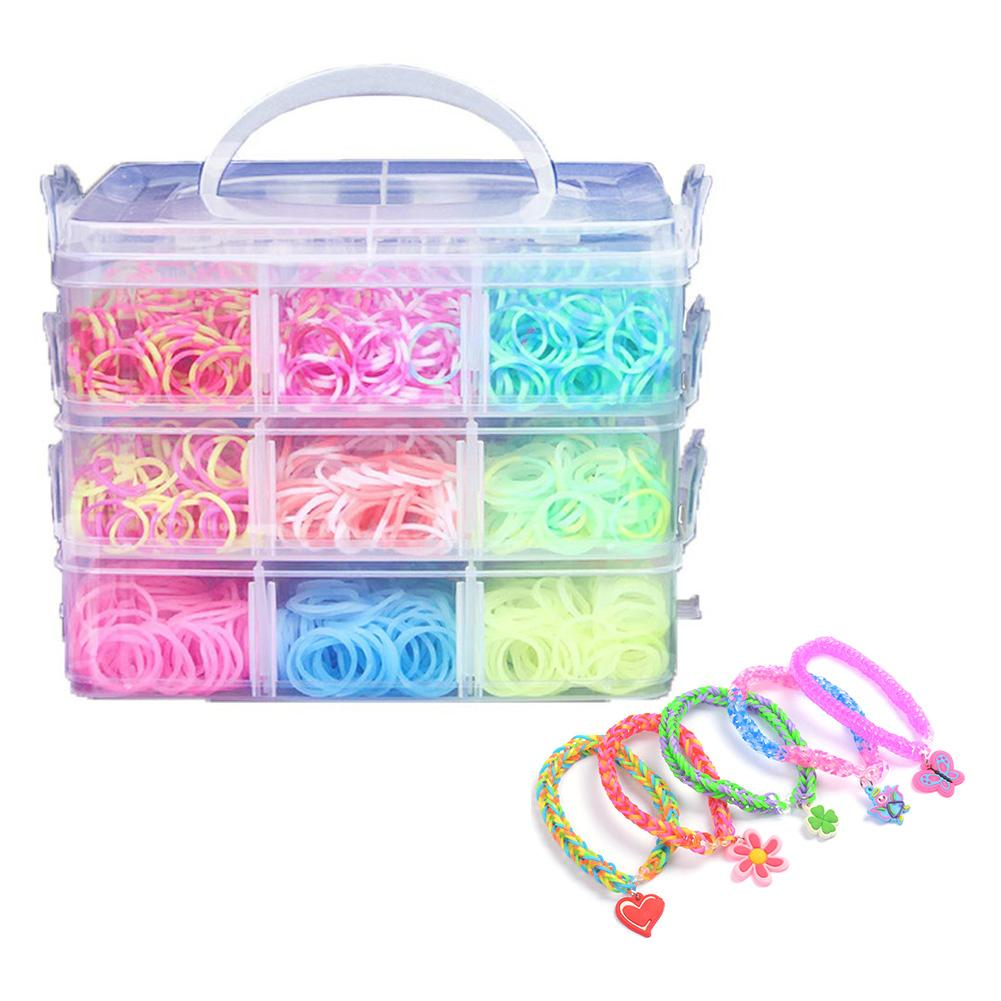 4500pc Colorful Gum For Bracelets Loom Bands Small Three-layer Boxed S Nail Button Bangle Loom Rubber Bands For DIY BRACELET