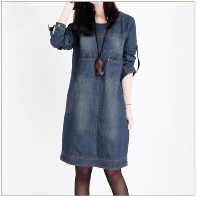 Женская одежда 2018 Весна Новый Большой Размеры Джинсы для женщин платье женщина в винтажном стиле, с длинным рукавом джинсовые платья Для женщин Vestidos femininos l432
