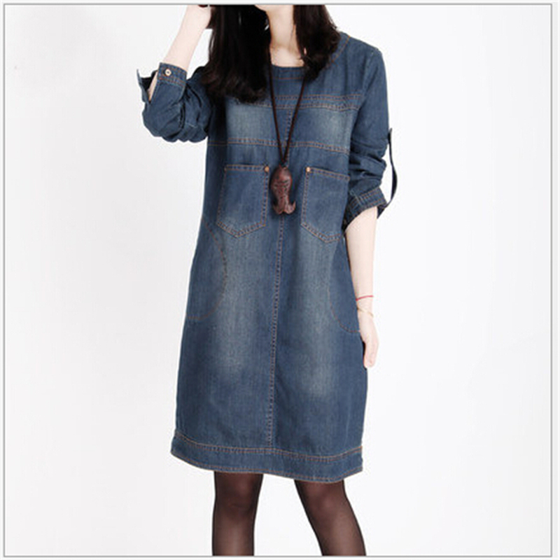 Women Clothing 2018 Spring New Big Size Jeans Dress Woman Vintage Long Sleeve Denim Dresses ...