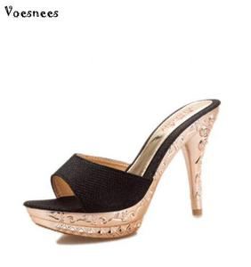 Image 3 - 2019 Summer Women Slippers PVC Crystal High Thin Heels 11.5CM Mules Platform Outside Ladies Slippers Sexy Women Shoes Sandals