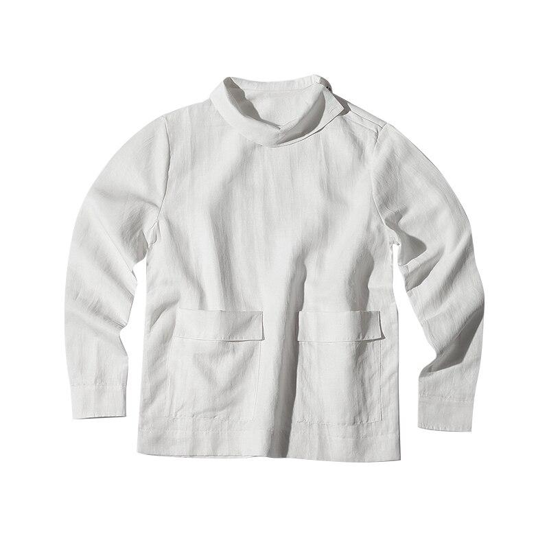 Nouveau Simple Styliste Gd 6xl La Coton Costumes Cheveux 2018 Mode Chemise Vêtements Lin S Hommes De Taille Individuel Col Noir Stand En blanc Plus EFSq8PnW