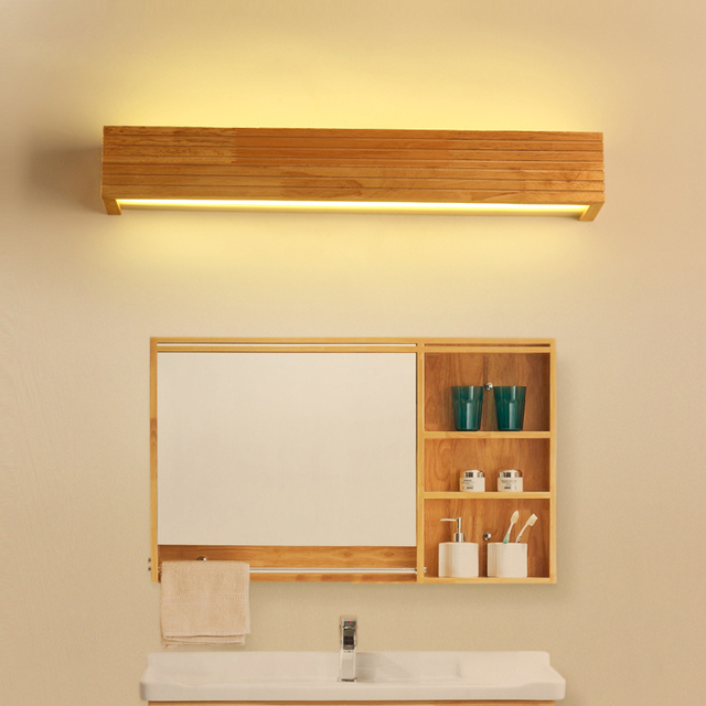Simple Nordic Bathroom Solid Wood Acrylic Led Mirror Light Fixture