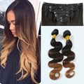 "Ombre Clip In Hair Extensions T1B/4/27 body wave 7pcs 120g 14-28"" Ombre Clip In Remy Human Hair Extensions for white women"