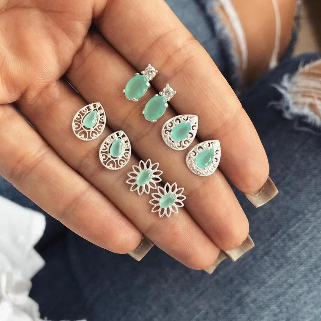 4 Pairs/Set Green Crystal Flower Stud Earrings for Women Wedding Boucle D'oreille Jewelry Dazzling Cubic Zirconia Opal Brincos
