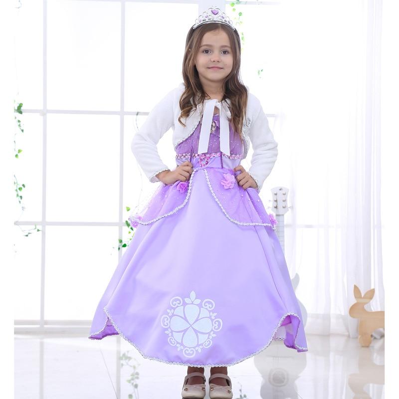 Kid Vestido Sophia Pelo GirlsLong Navidad Princesa Vestido de Gala ...