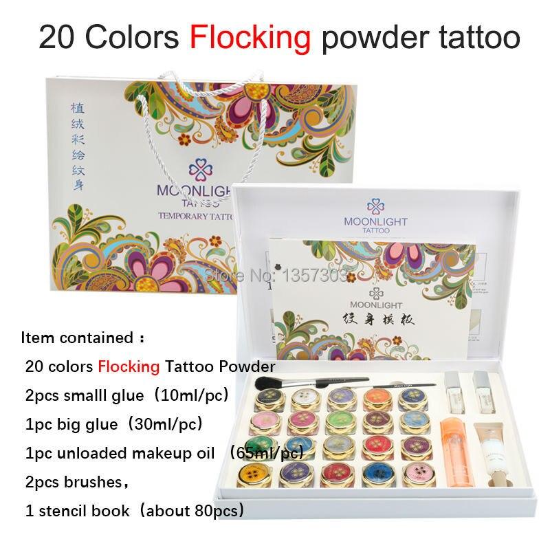 2017 nouveau haute qualité 20 couleurs flocage poudre tatouage ensemble pour Art corporel temporaire tatouage brosses colle pochoirs livraison gratuite