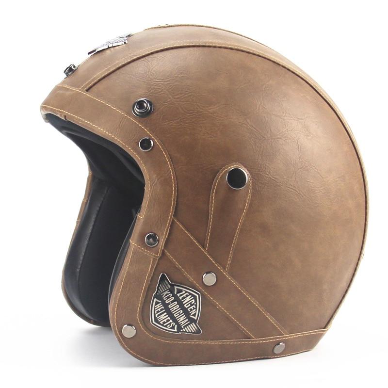 Casques Harley en cuir pour adultes casque de moto 3/4 casque de moto Chopper de haute qualité casque de vélo visage ouvert casque de moto vintage motocros