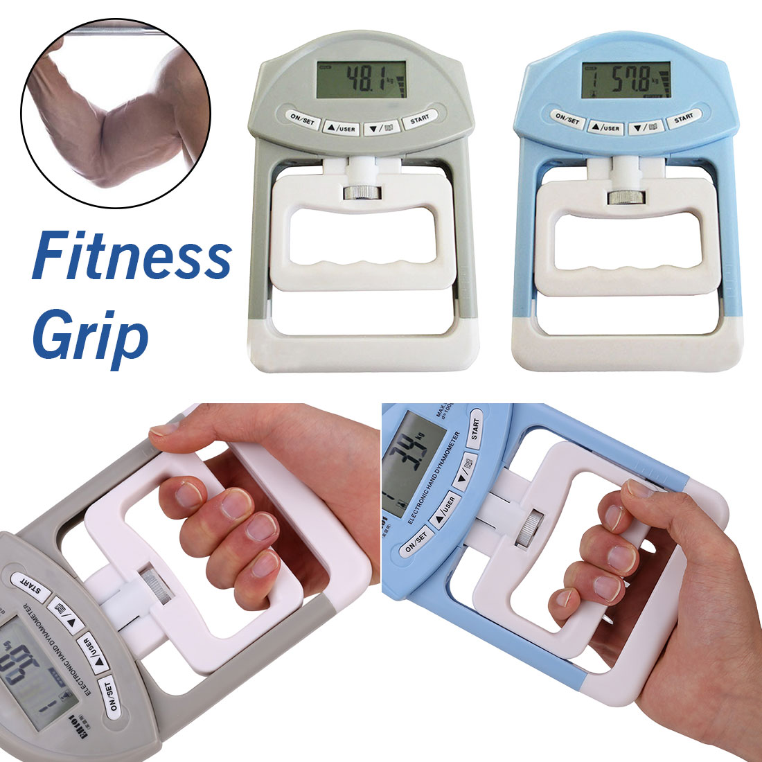 New 90kg/198Ib Digital LCD Dynamometer Hand Grip Power Measurement Strength Meter for Body Building Gym Exercises