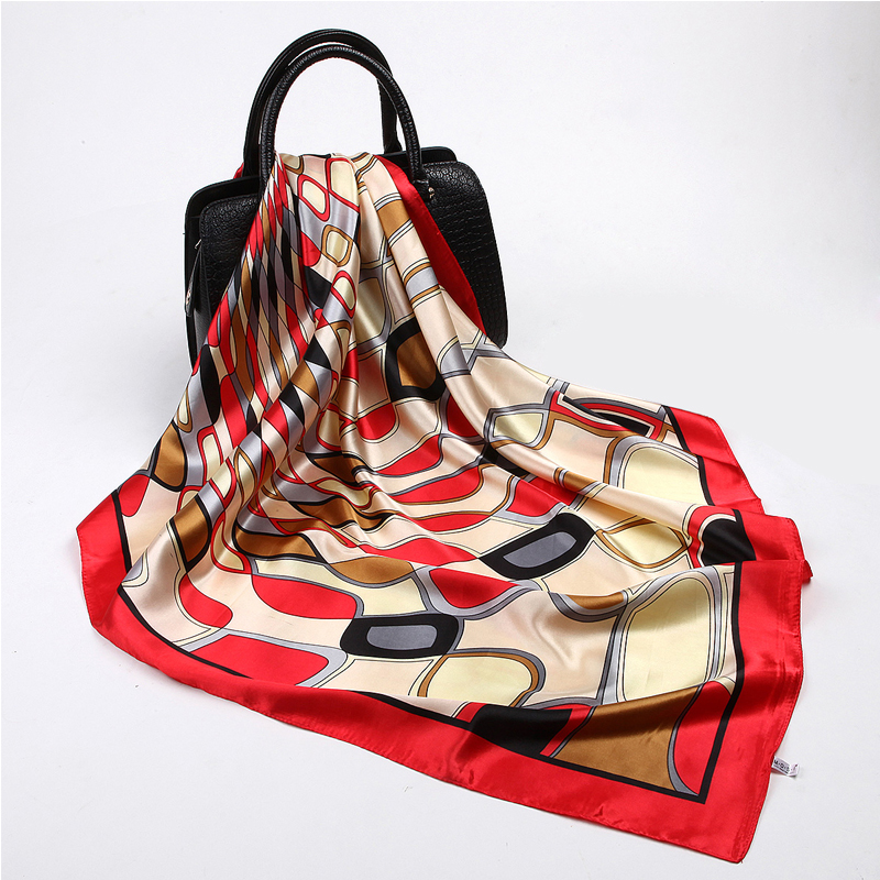 Fashion Red Hijab Square Scarf Women Water Ripple Printed Shawls Foulard Female Neck Bag Wraps Wholesale Head Scarves 90*90cm