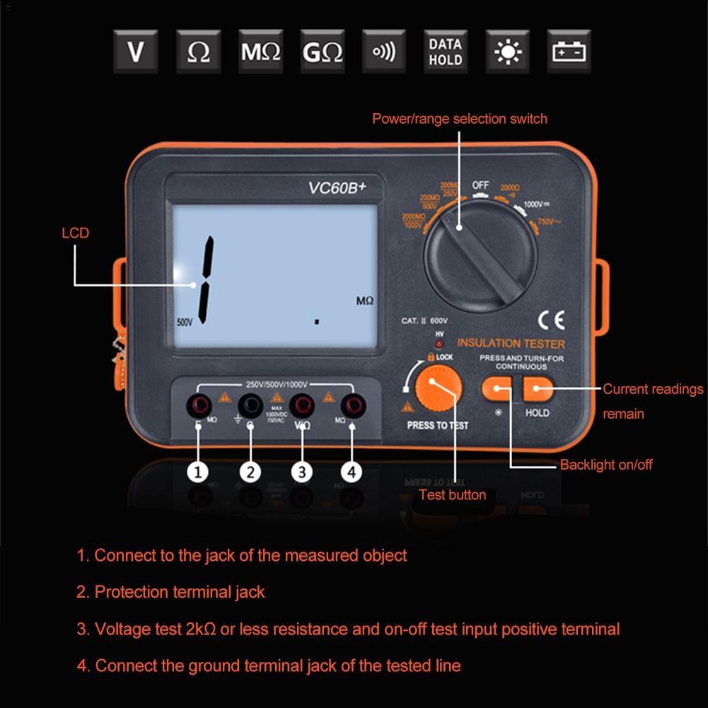 1000v Vc60b Digital Insulation Resistance Tester Megohmmeter Esting For In A Circuit Ohmmeter Voltmeter Measuring Tool And Short Input Alarm Meters From
