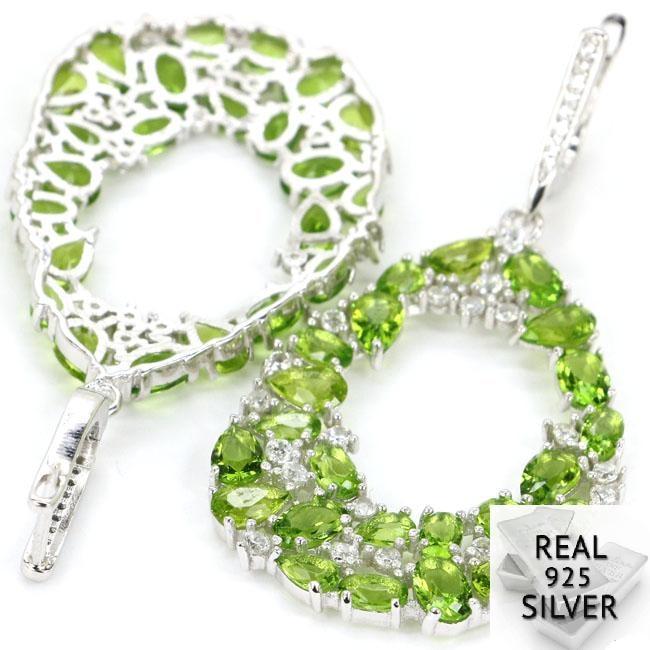 11.6g Real 925 Solid Sterling Silver Long Big Heavy Green Peridot Cubic Zirconia Ladies Earrings 57x27mm