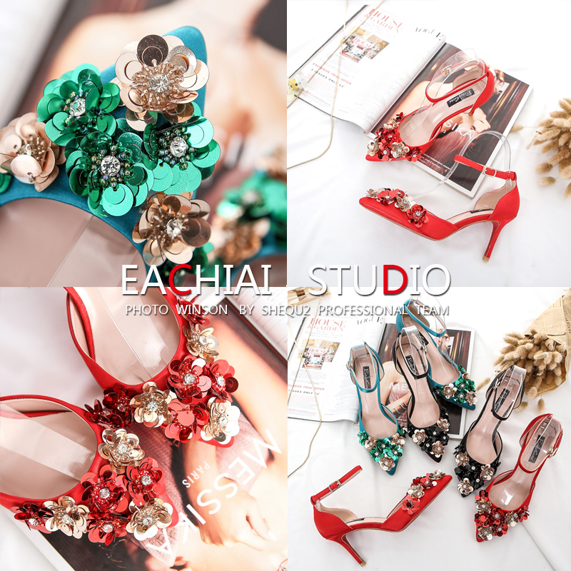 ФОТО Bead piece flower black heels with a fine diamond buckle a pointed green bride wedding shoes red shoes