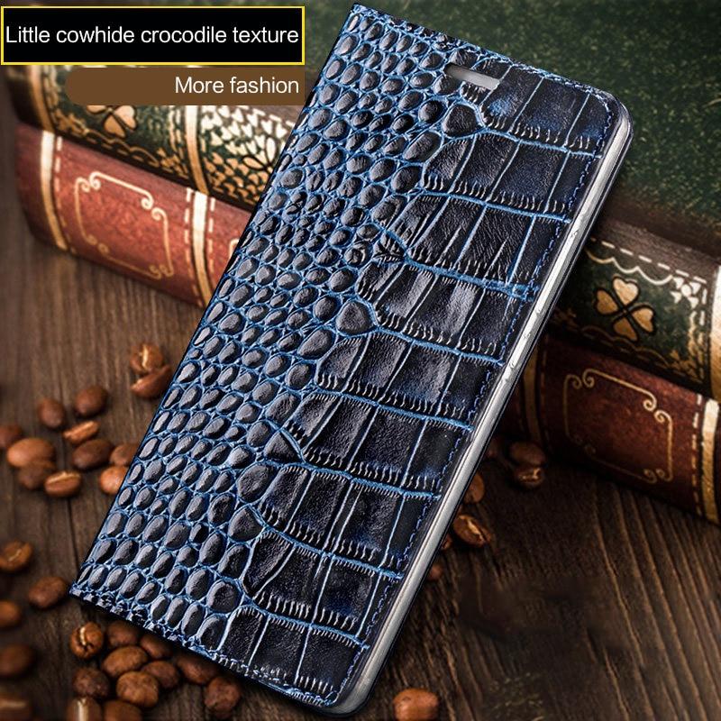 Wangcangli Genuine Leather Flip Case For iPhone 8 X Crocodile Flat Texture Card Slot Phone Cover For iPhone 6 6S 7 Plus Cases in Flip Cases from Cellphones Telecommunications
