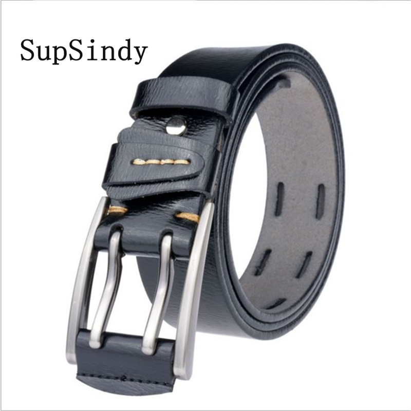 SupSindy Leather Men   Belt   Double Pin Alloy Buckle Cowhide Male Waistband Black Luxury Genuine Leather   Belts   for Men high quality