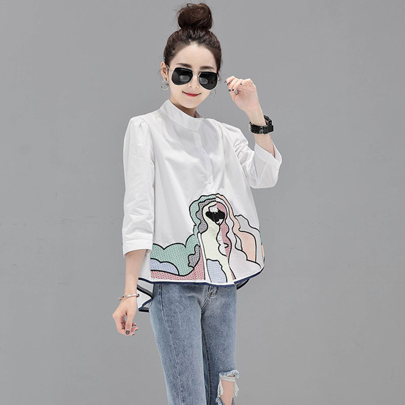 Abstract Painting   Shirt   For Women White Three Quarter Casual Office Lady Spring   Blouses     Shirts   For Female 2019 New Hot Fashion
