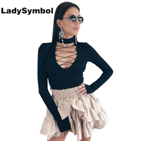 LadySymbol Lace Up Winter Sexy Women Bodysuit Hollow Long Sleeve Elegant Black Halter Leotard Bodycon Jumpsuit