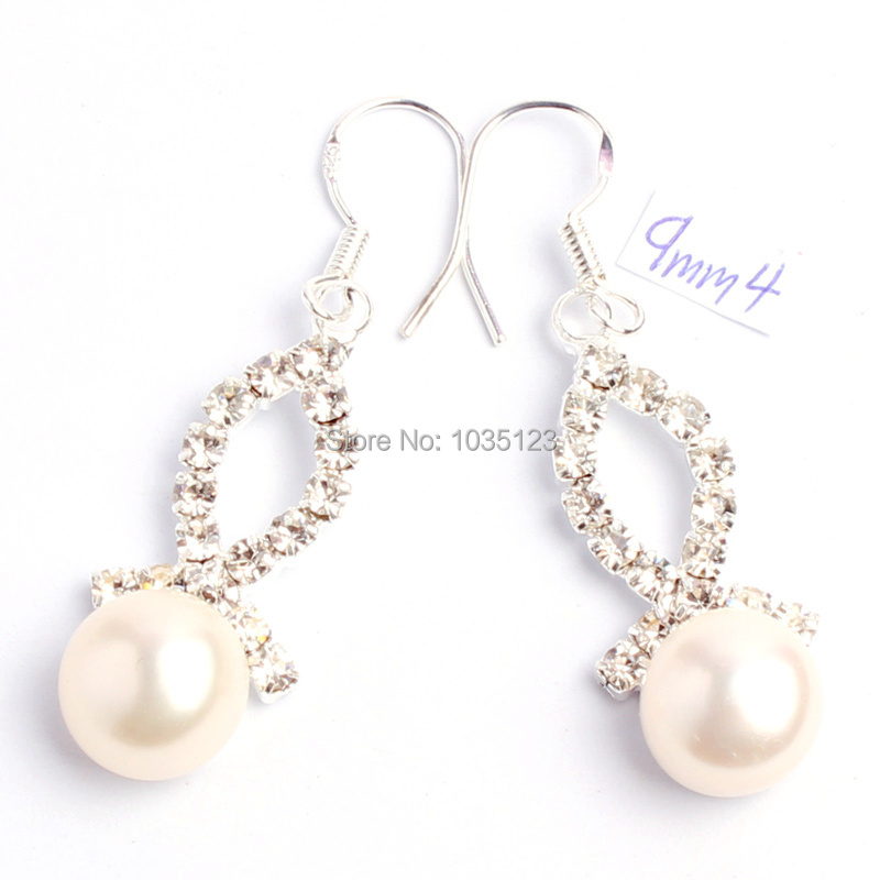 Free Shipping 9mm Pretty White Color Natural Freshwater Pearl Fashion  Rhinestone Earrings Silver Hook Jewelry w831 efa43d2c7496