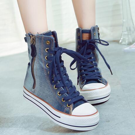 Новых женщин весной 2016 высокой кружева жан холст обувь склонны молния 35-40 женщин повседневная обувь