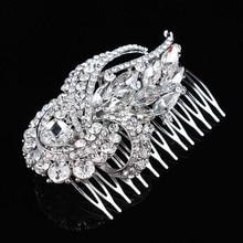 2017 New Arrival Art Deco Silver Clear Rhinestones Crystals Pearls Leaves Wedding Hair Comb Bridal Hair