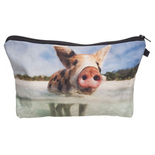 Water Suckling pig 3D Printing women cosmetic bag neceser bolsos mujer de marca famosa 2016 trousse de maquillage pencil case