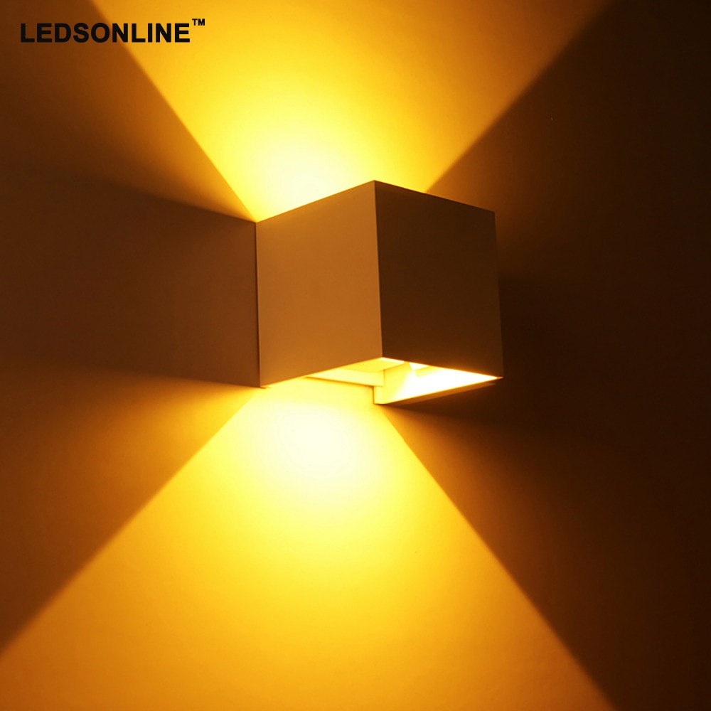 New 120degree Waterproof Cube COB LED Light Wall Lamp Modern Home Lighting Decoration outdoor wall lamp Aluminum 2X3W IP66 220V modern waterproof cube cob led light wall lamp home lighting decoration garden outdoor indoor wall lamp aluminum 6w 12w ac 220v