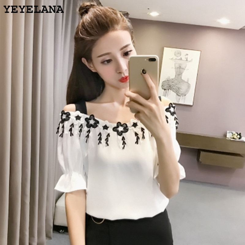 YEYELANA 2018 Summer New Korean Word Collar Tassel Suspenders Sleeves Chiffon Shirt