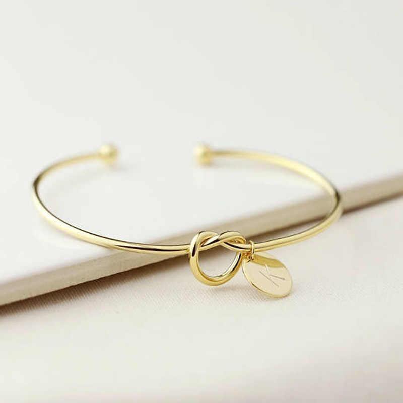 Moda kobieta biżuteria początkowa ze stopu nazwa list bransoletki dla kobiet dziewczyn różowe złoto/srebrny łuk-knot Charm bransoletka dropshipping
