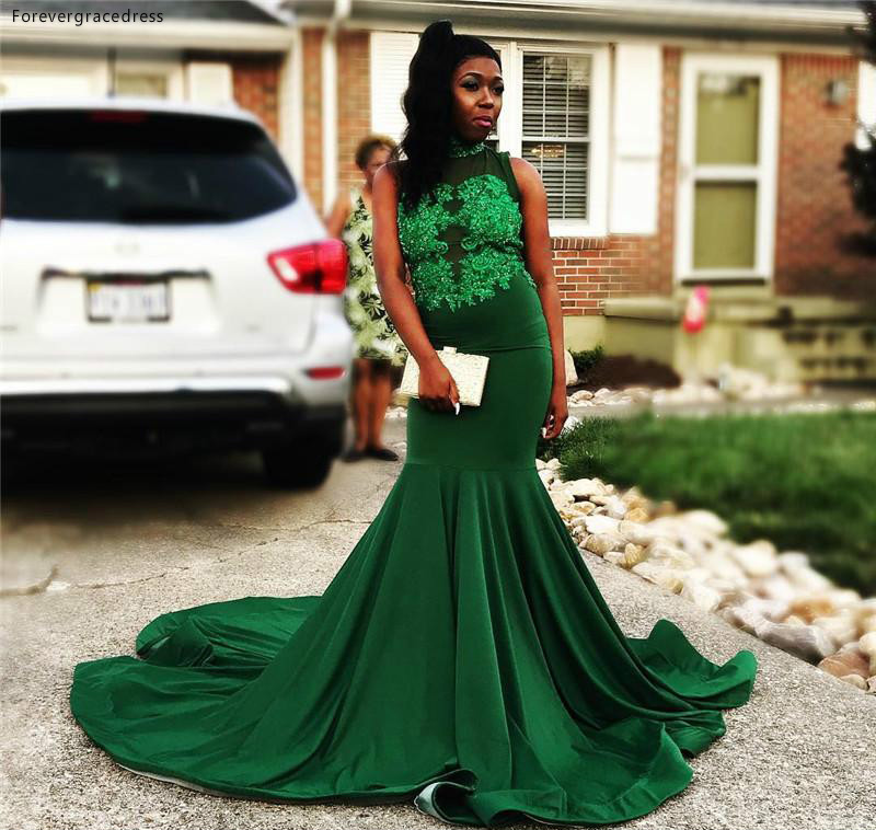 South African Black Girls   Prom     Dress   2019 Dark Green Mermaid Appliques Holidays Graduation Wear Evening Party Gown Custom Made