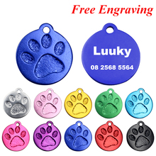 2pcs/lot Custom Pet Tags Engraved Dog Collar Pendant Paw Aluminum ID Customized Cat Tag 23*26mm