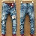 Nova primavera e outono de personalidade dos homens buraco retro clássico moda jeans denim calças calças retas magros calça jeans soltos
