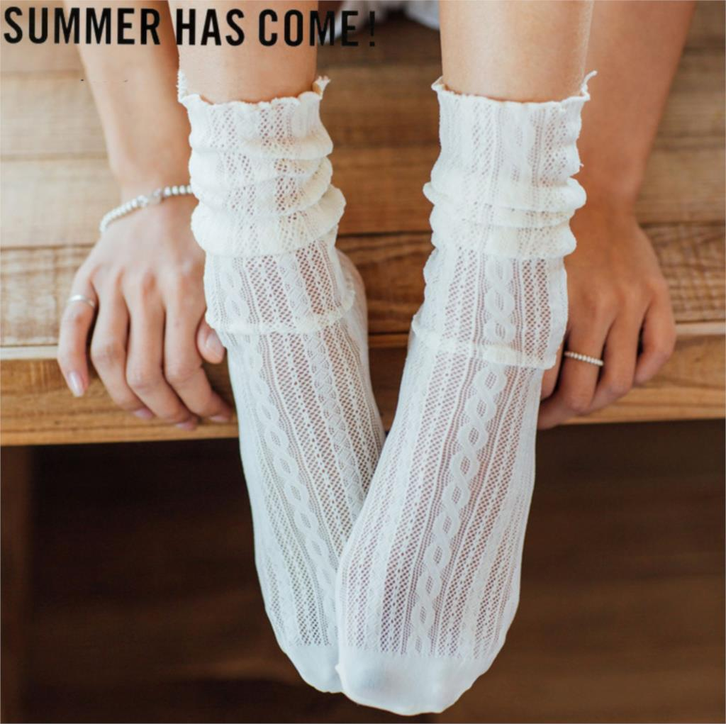 Woman Socks 1 Pair 2019 Spring New Fashion Socks Summer Solid Hollow Out Women Soft Cute Long Socks For Women Mesh Thin Socks(China)