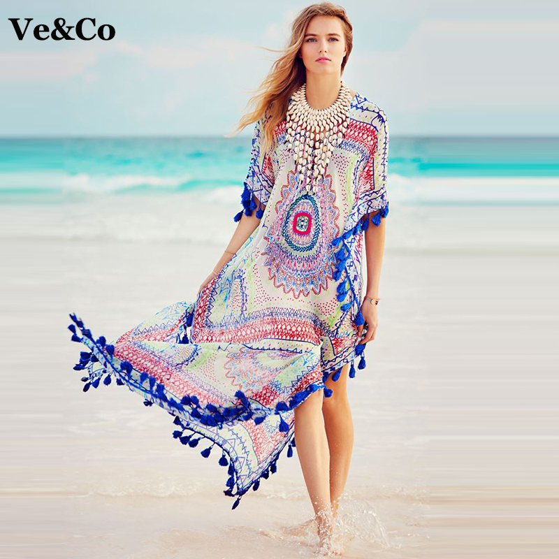 ve co sexy bikini cover up beach wear dress tunic pareo beach cover up 2017 summer chiffon women. Black Bedroom Furniture Sets. Home Design Ideas