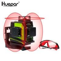 Aletler'ten Lazer Seviyeleri'de Huepar 12 satır 3D kırmızı ışın çapraz çizgi lazer seviyesi kendini tesviye 360 derece dikey ve yatay gözlük ile USB şarj