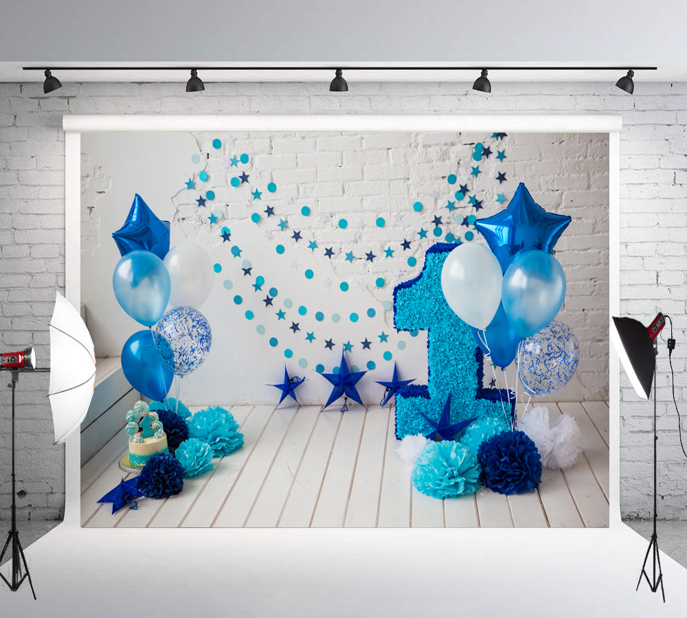 1st Birthday <font><b>Backdrops</b></font> for Photography <font><b>Boy</b></font> Party Blue Balloon Cake Smash Photo Background <font><b>Baby</b></font> <font><b>shower</b></font> Photo booth LW-1089 image
