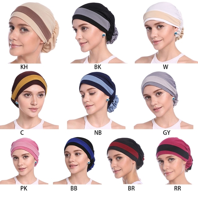 ファッション女性のエレガントなストレッチブロック色イスラム教徒ターバン化学がんキャップビーニー帽子ホットな新デザイン 10 色 2018