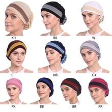 แฟชั่นผู้หญิง Elegant ยืดบล็อกดอกไม้สีมุสลิม Turban Chemo มะเร็งหมวก Beanie หมวกร้อนออกแบบใหม่ 10 สี 2018