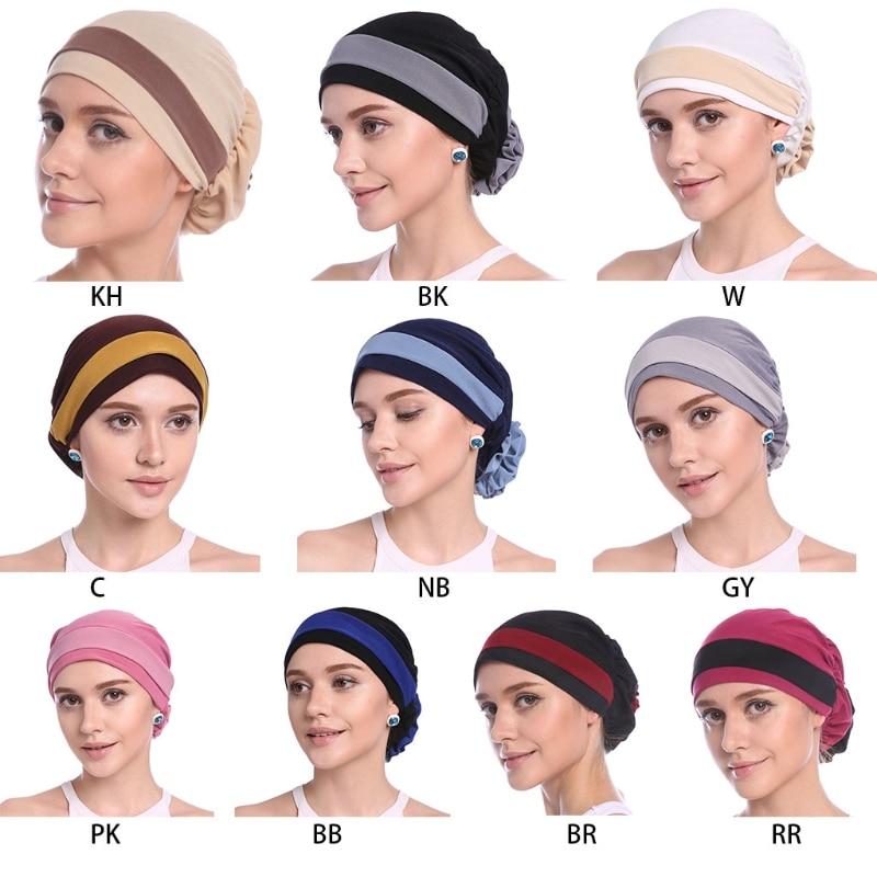 Fashion Womens Elegant Stretchy Flower Block Color Muslim Turban  Chemo Cancer Cap Beanie Hat Hot New Design 10 Colors 2018Womens  Skullies