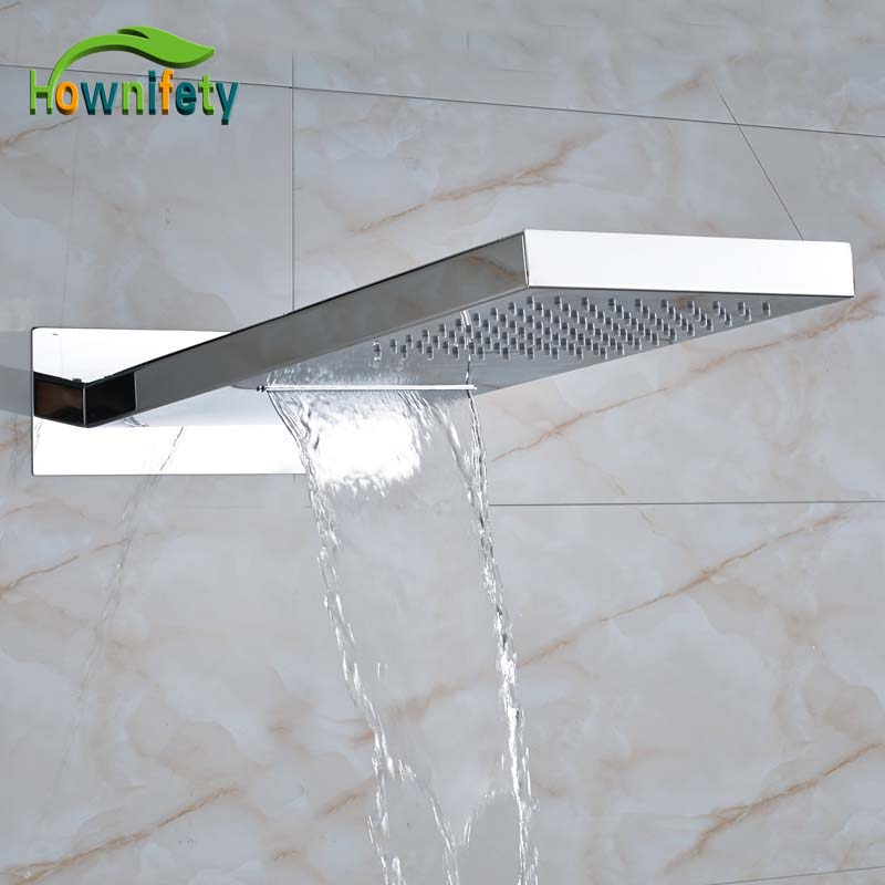 Chrome Polished Bathroom Rectangle Shower Head Solid Brass Waterfall and Rainfall Shower Head 2 Functions Out Water rectangle single glass shelf brass wall mounted luxury modern polished chrome shower shampoo bathroom holder bathroom hardware
